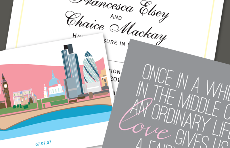 Montage of wedding stationery.