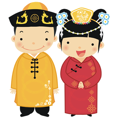 Cartoon of Sam & Joe in traditional Chinese attire.